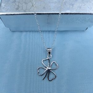 Jewelry - NEW- Sterling Silver 4 Leaf Clover Charm Necklace
